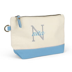 Nantucket Cosmetic Bag with Light Blue Trim