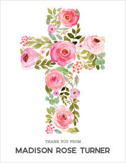 Pink Floral Cross Vertical Folded Note Cards