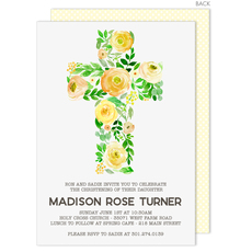 Yellow Floral Cross Baptism Invitations