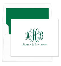 Fancy Script Monogram Foldover Note Cards