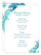 Teal Watercolor Damask Menu Cards