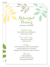 Green and Yellow Botanical Leaves Menu Cards