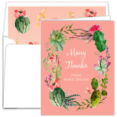 Pink Desert Blooms Vertical Folded Note Cards