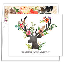 Floral Decorated Deer Folded Note Cards