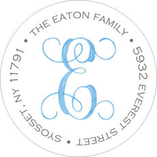 Sweet Welcome -Blue Round Address Labels