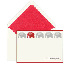 Elegant Flat Note Cards with Red Elephant