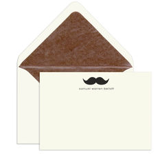 Elegant Flat Note Cards with Engraved Moustache