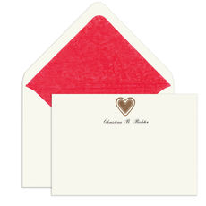 Elegant Note Cards with Engraved Heart