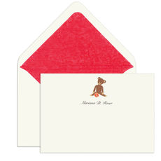 Elegant Note Cards with Engraved Teddy Bear