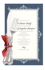 Knife and Fork Blue Die-cut Invitations