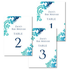 Teal Watercolor Damask Table Number Cards