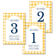 Yellow Gingham Table Number Cards