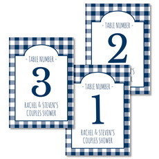 Navy Gingham Table Number Cards