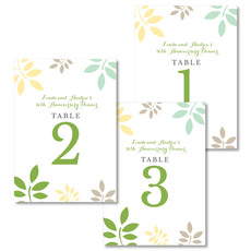 Green and Yellow Botanical Leaves Table Number Cards