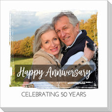 Happy Anniversary Brushed Frame Photo Napkins