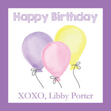 Purple Birthday Wishes Square Stickers