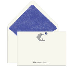 Dolphin Engraved Motif Flat Note Cards