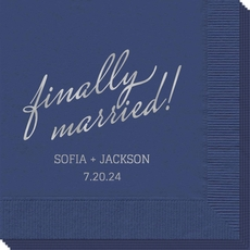 Expressive Script Finally Married Napkins