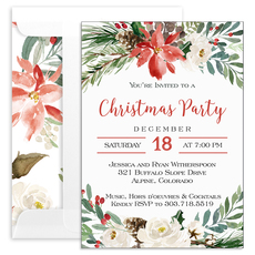White Holiday Floral Invitations