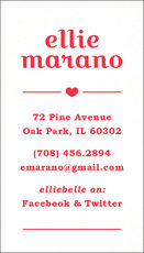 Vertical Single Heart Letterpress Contact Cards