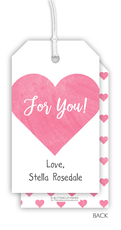 Pink Watercolor Heart Hanging Gift Tags