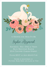 Green Swans Baby Shower Invitations