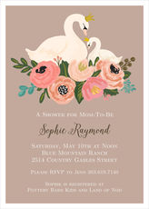 Tan Swans Baby Shower Invitations