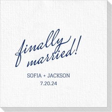 Expressive Script Finally Married Luxury Deville Napkins
