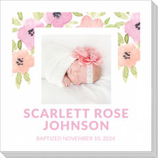 Watercolor Floral Border Photo Napkins