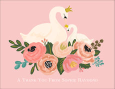 Pink Swans Folded Note Cards