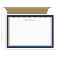 Midnight Navy Classic Border Flat Note Cards