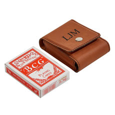 Caramel Leatherette Playing Card Case