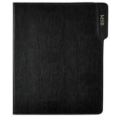 Personalized Black Bonded Leather Padfolio