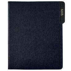Personalized Navy Bonded Leather Padfolio