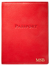Personalized Red Leather Passport Cover