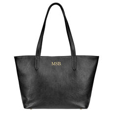 Personalized Black Cassie Leather Travel Tote Bag