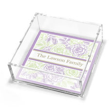 Lilac & Celery Garden Rose Petite Lucite Trinket Tray