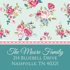 Delicate Roses Square Address Labels