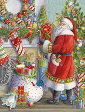 Santa at the Mantle Holiday Cards