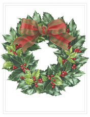 Embossed Holly Wreath Holiday Cards