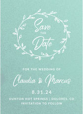 Wreath on Shimmer Save the Date Cards