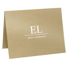 Prominent Initials Folded Shimmer Note Cards