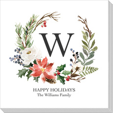 White Holiday Floral Napkins