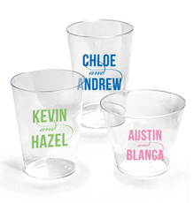 Personalized Modern Couple Clear Plastic Cups
