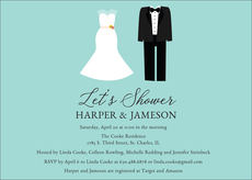 Blue Future Mr. and Mrs. Couples Shower Invitations