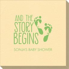 And The Story Begins with Baby Feet Linen Like Napkins