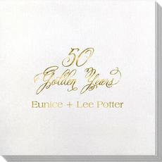 Elegant 50 Golden Years Bamboo Luxe Napkins