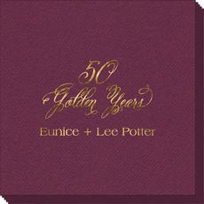 Elegant 50 Golden Years Linen Like Napkins