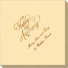Elegant Happy Anniversary Linen Like Napkins