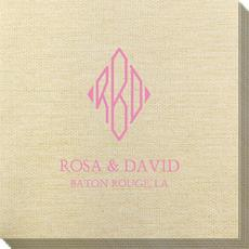 Shaped Diamond Monogram with Text Bamboo Luxe Napkins